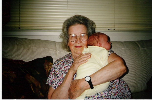 With my then newborn son, her first great-grandchild.